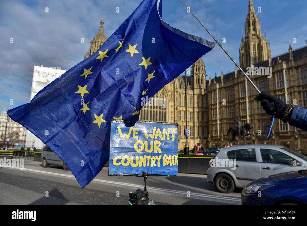 London, UK.  30 January 2018.  Campaigners carrying European Union flags gather outside the Houses of Parliament - Stock Image
