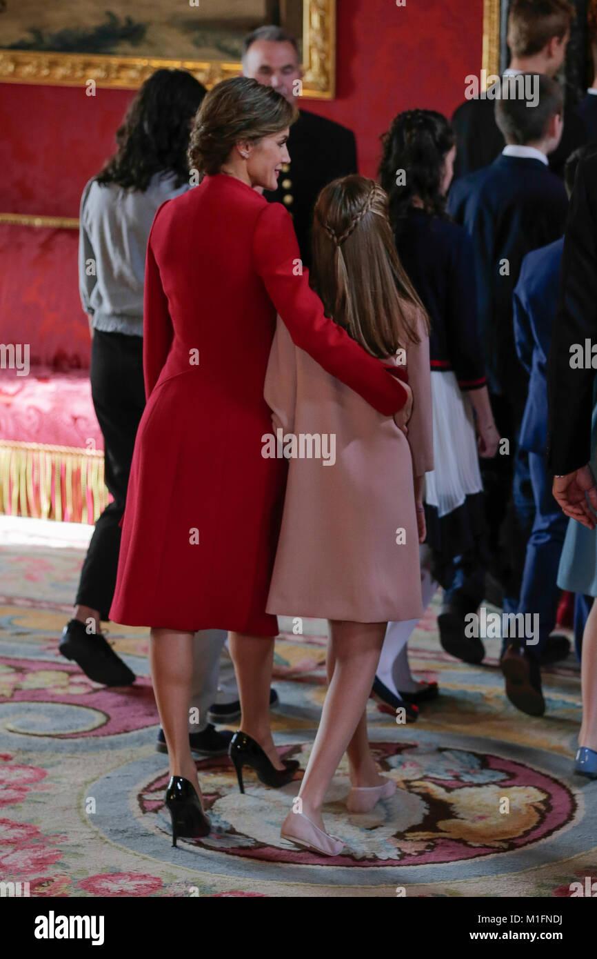 Spanish Queen Letizia Ortiz With Daughter Sofia De Borbon During The