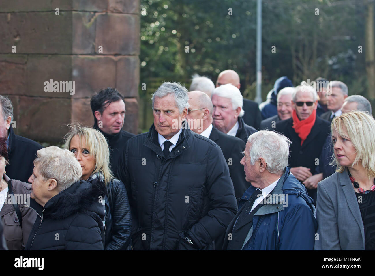 Warrington, Liverpool, UK. 30th Jan, 2018. Ex Liverpool player's attend the funeral of former Liverpool FC goalkeeper - Stock Image