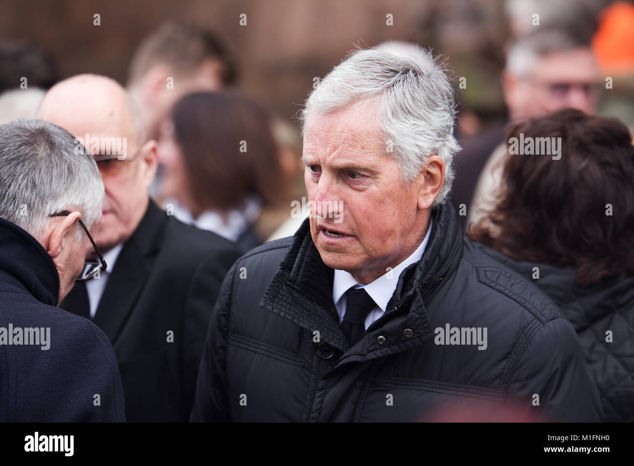 Warrington, Liverpool, UK. 30th Jan, 2018. Ex Liverpool player Ray Clemence attends the funeral of former Liverpool - Stock Image