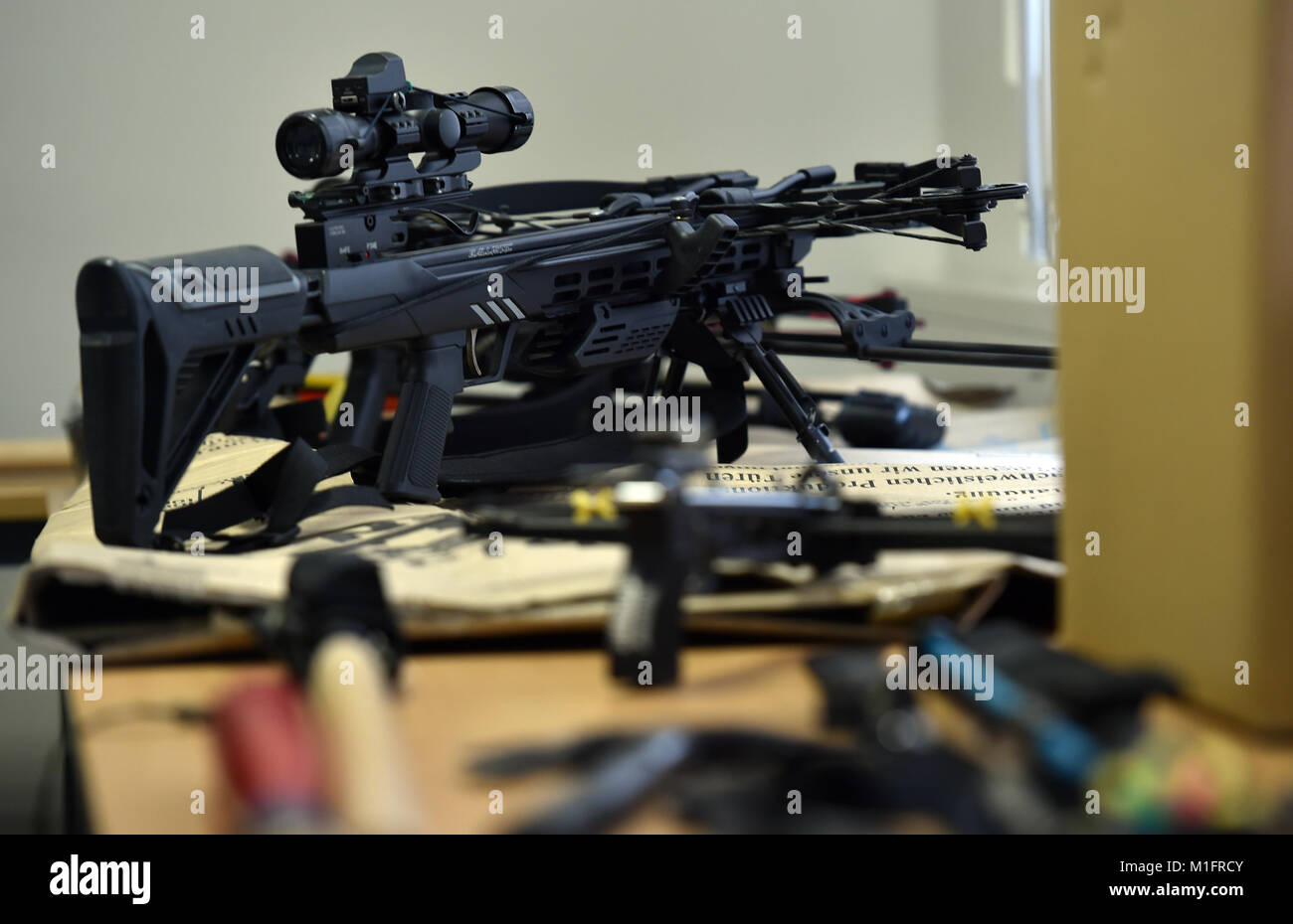 A Seized Automatic Crossbow And Other Objects Displayed On Table At Press Conference In Krefeld Germany 30 January 2018 The Morning Of