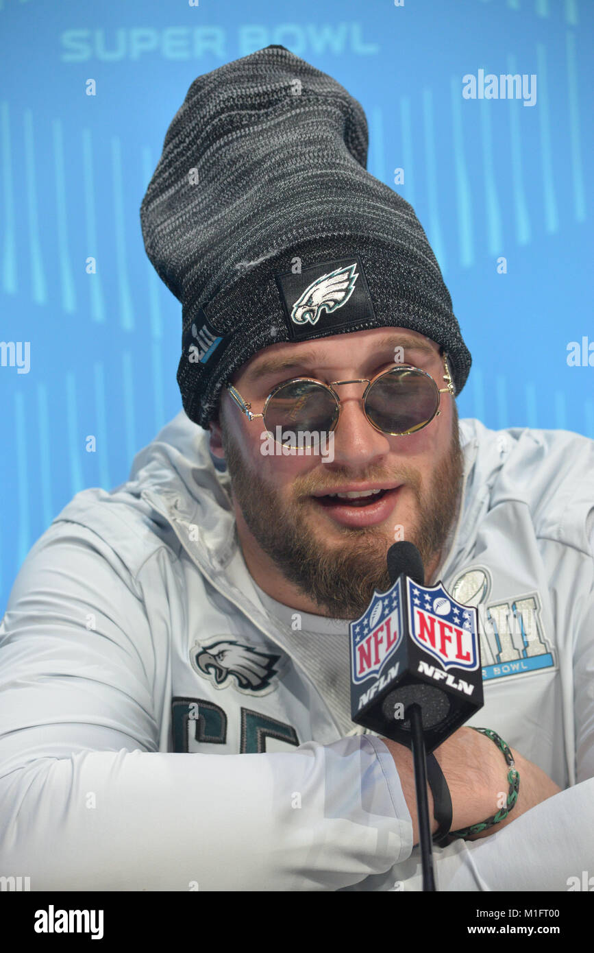 St Paul, Minn, USA. 29th Jan, 2018. Lane Johnson of the Philadelphia Eagles gives an interview at the official Superbowl - Stock Image