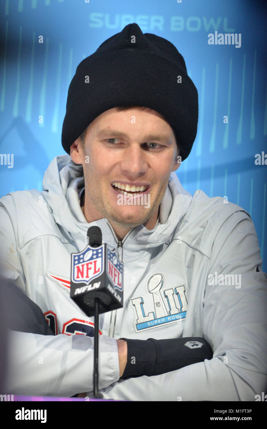 St Paul, Minn, USA. 29th Jan, 2018. Tom Brady of the New England Patriots gives an interview at the official Superbowl - Stock Image