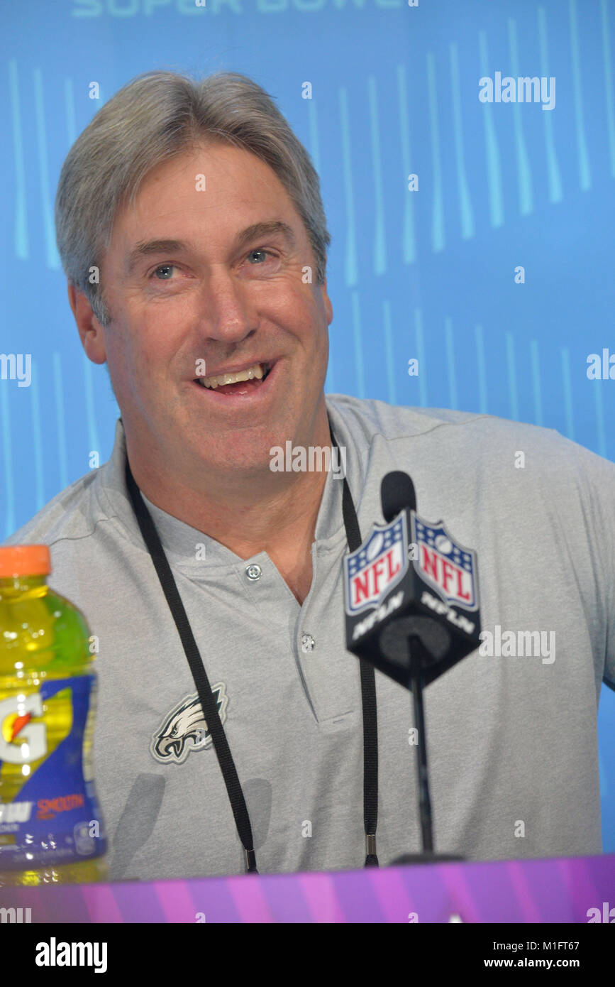 St Paul, Minn, USA. 29th Jan, 2018. Doug Pederson of the Philadelphia Eagles gives an interview at the official - Stock Image