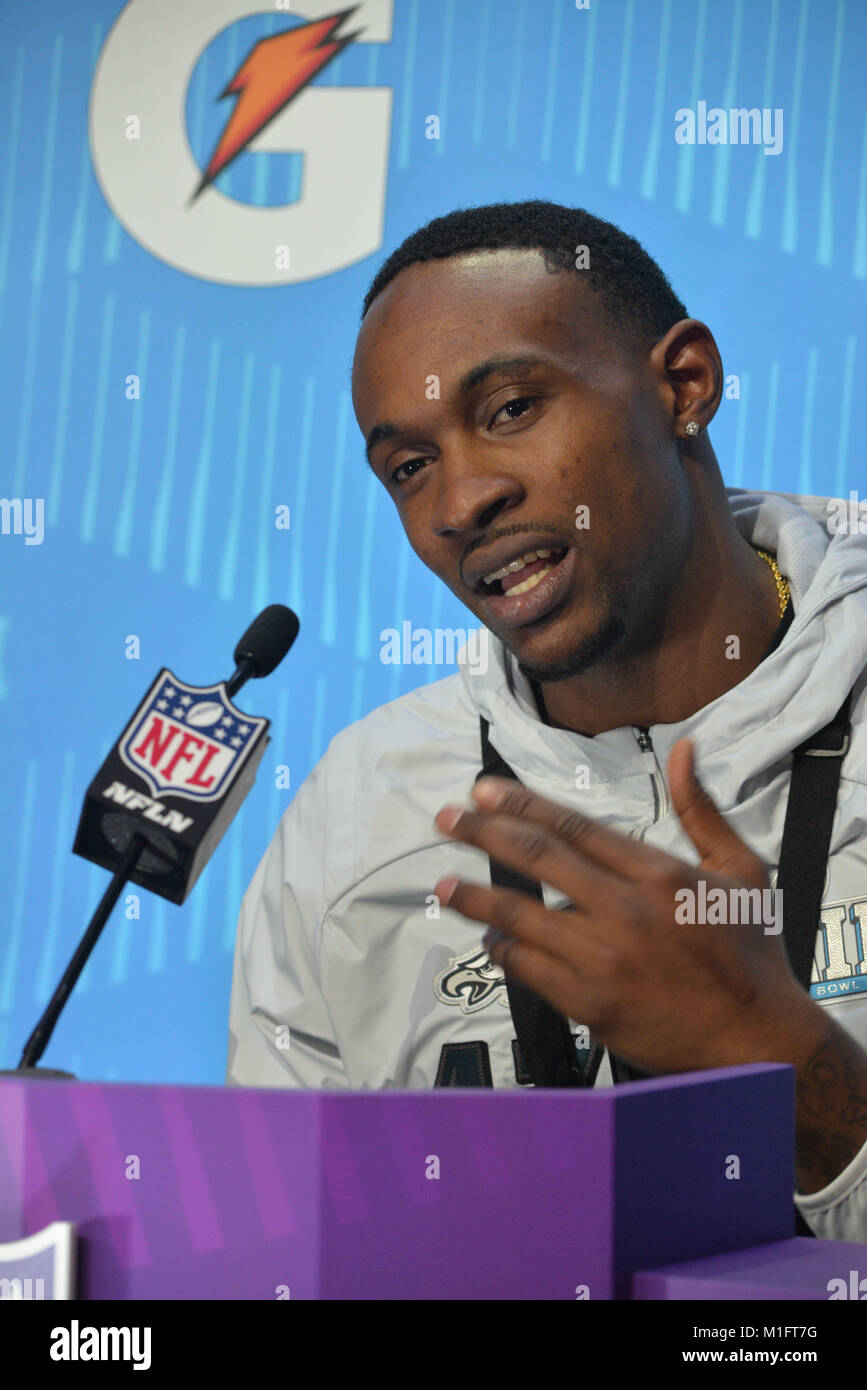 St Paul, Minn, USA. 29th Jan, 2018. Alshon Jeffery of the Philadelphia Eagles gives an interview at the official - Stock Image