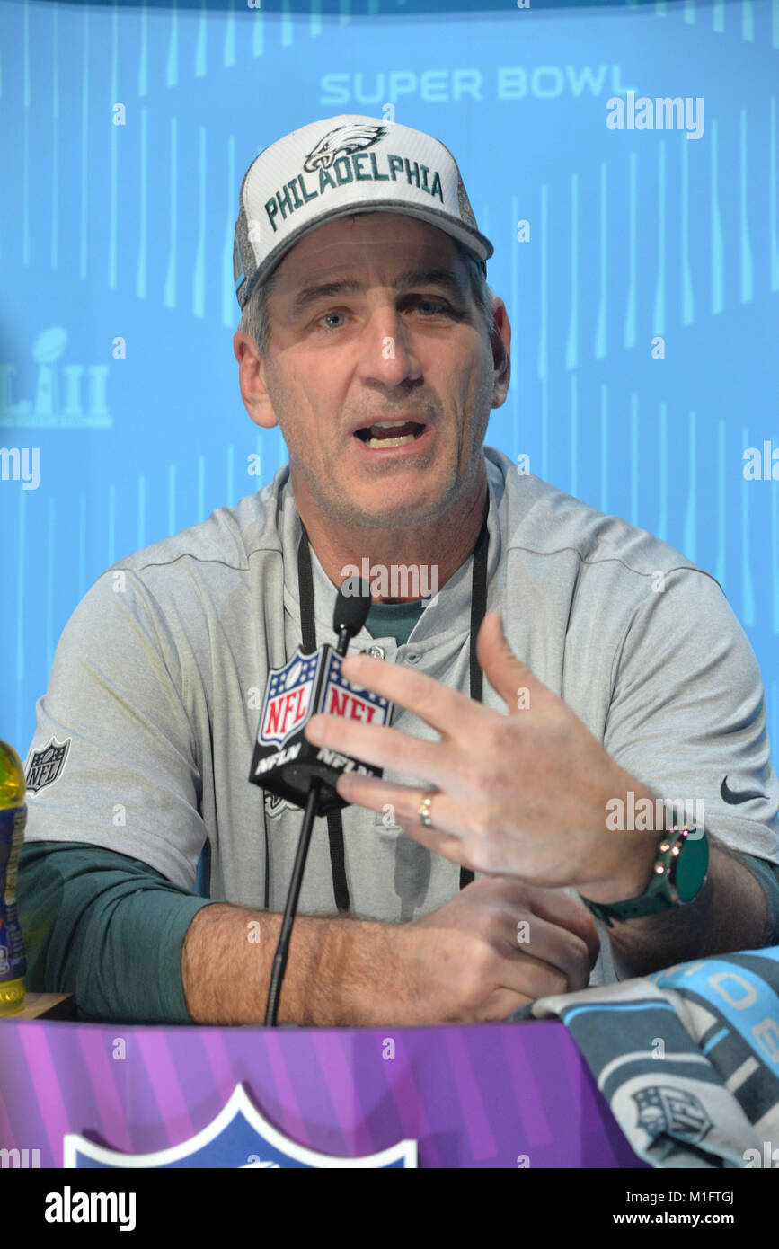 St Paul, Minn, USA. 29th Jan, 2018. Frank Reich of the Philadelphia Eagles gives an interview at the official Superbowl - Stock Image
