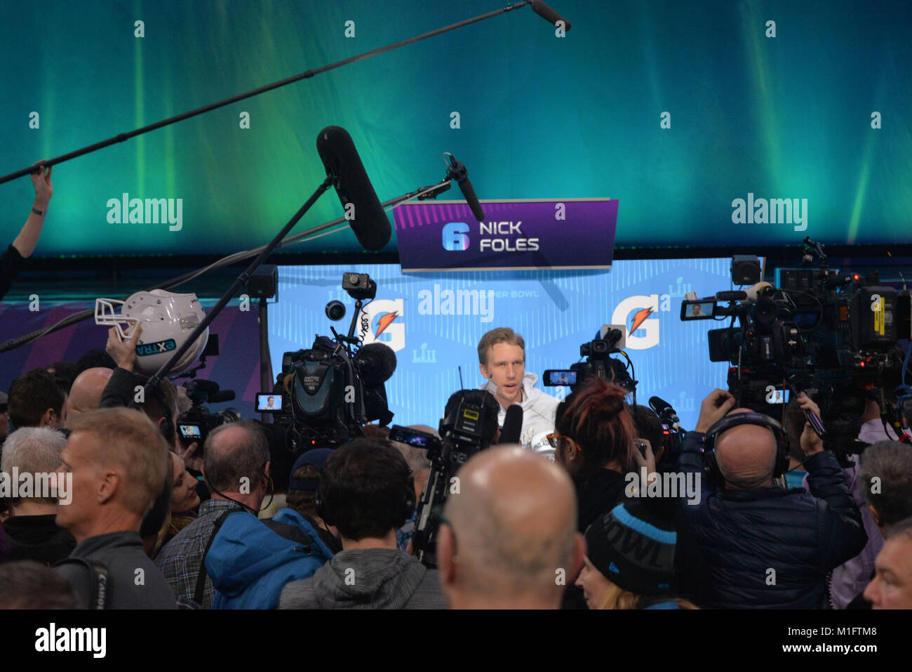 St Paul, Minn, USA. 29th Jan, 2018. Nick Foles of the Philadelphia Eagles gives an interview at the official Superbowl - Stock Image