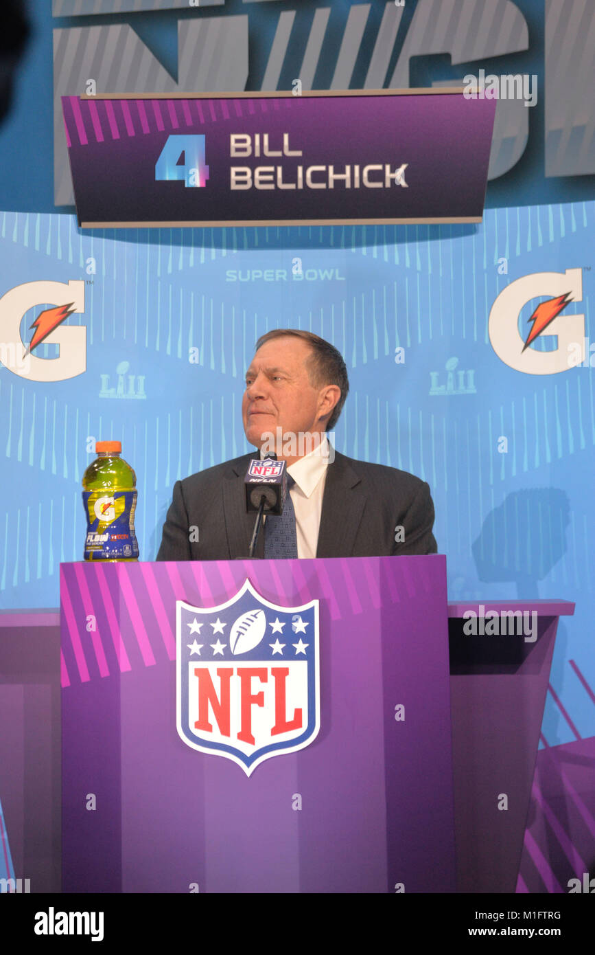 St Paul, Minn, USA. 29th Jan, 2018. Bill Belichick of the New England Patriots gives an interview at the official - Stock Image