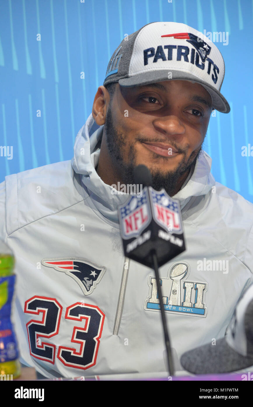 St Paul, Minnesota, USA. 29th Jan, 2018. -Patrick Chung of the New England Patriots gives an interview at the official - Stock Image