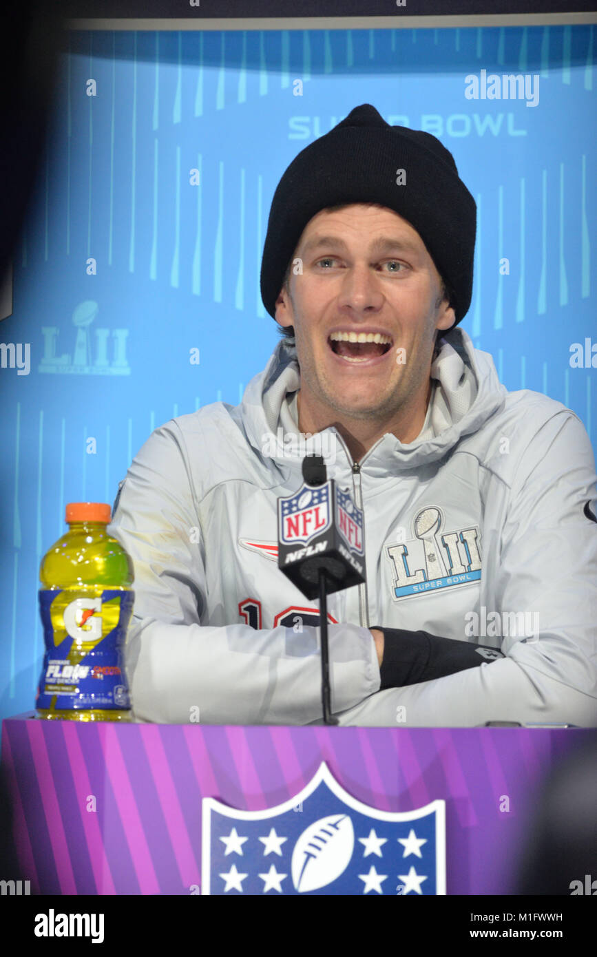 St Paul, Minnesota, USA. 29th Jan, 2018. -Tom Brady of the New England Patriots gives an interview at the official - Stock Image