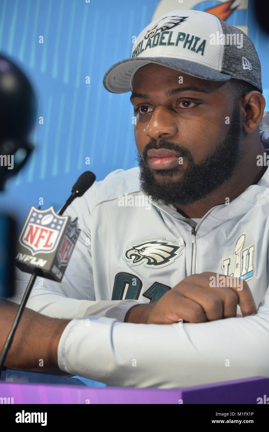 St Paul, Minnesota, USA. 29th Jan, 2018. -Fletcher Cox of the Philadelphia Eagles gives an interview at the official - Stock Image