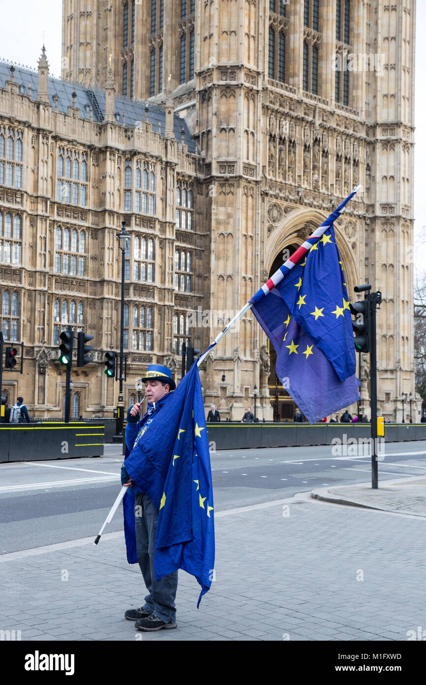 London, UK. 30th Jan, 2018. An anti-Brexit protester from SODEM (Stand of Defiance European Movement) stands holding - Stock Image