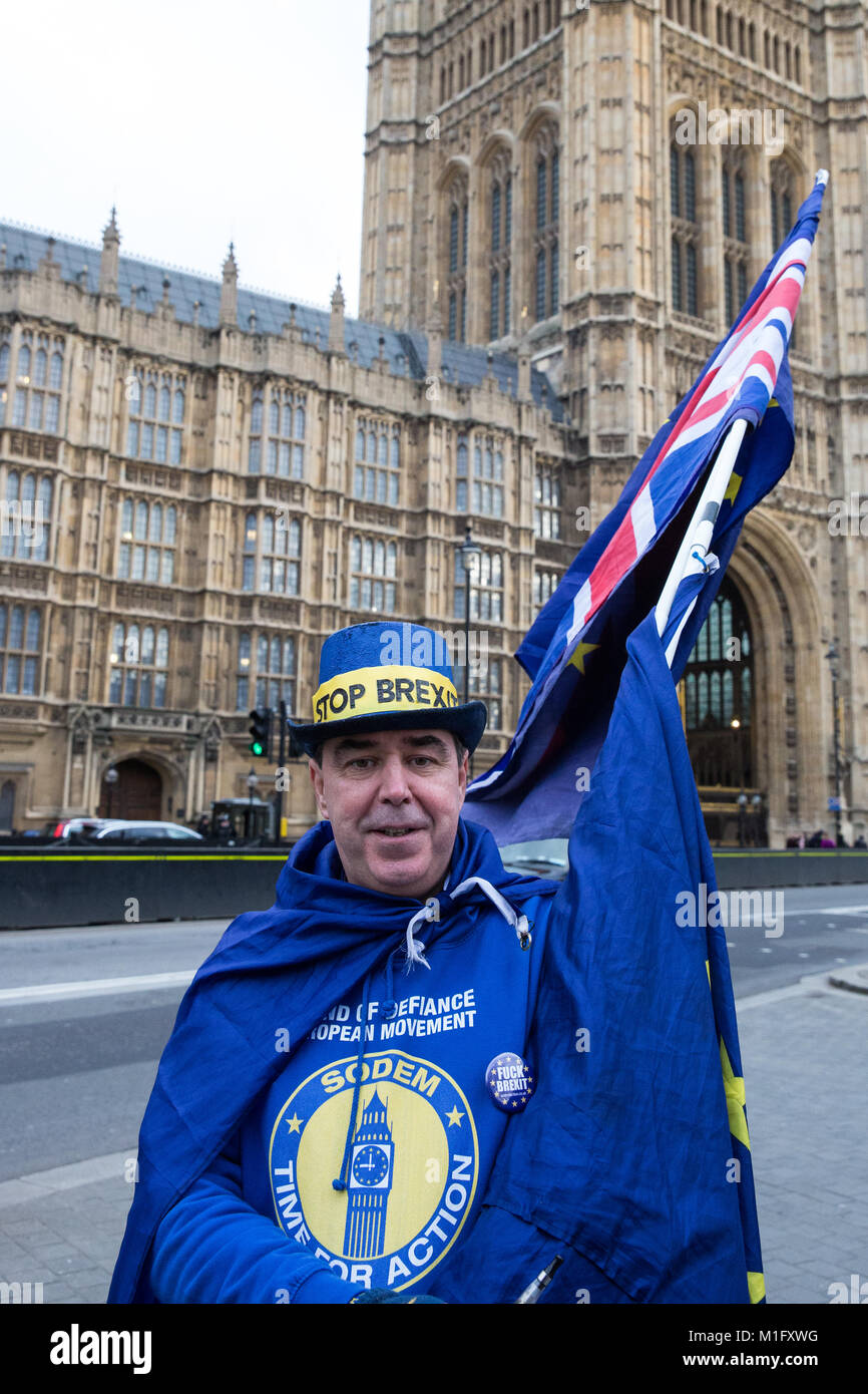 London, UK. 30th Jan, 2018. Steven Bray of SODEM (Stand of Defiance European Movement) stands holding European Union - Stock Image
