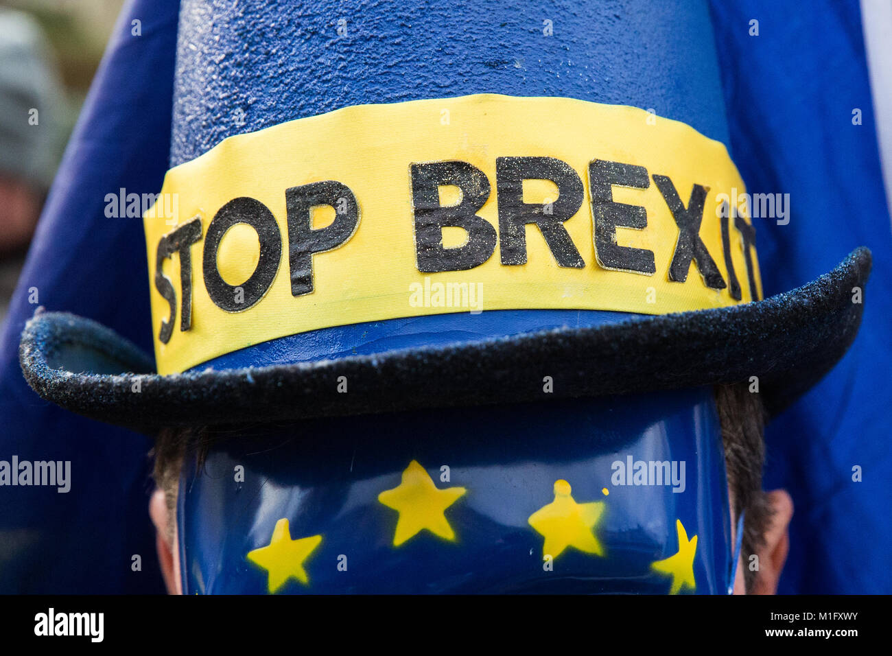 London, UK. 30th Jan, 2018. An anti-Brexit protester from SODEM (Stand of Defiance European Movement) wearing a Stock Photo