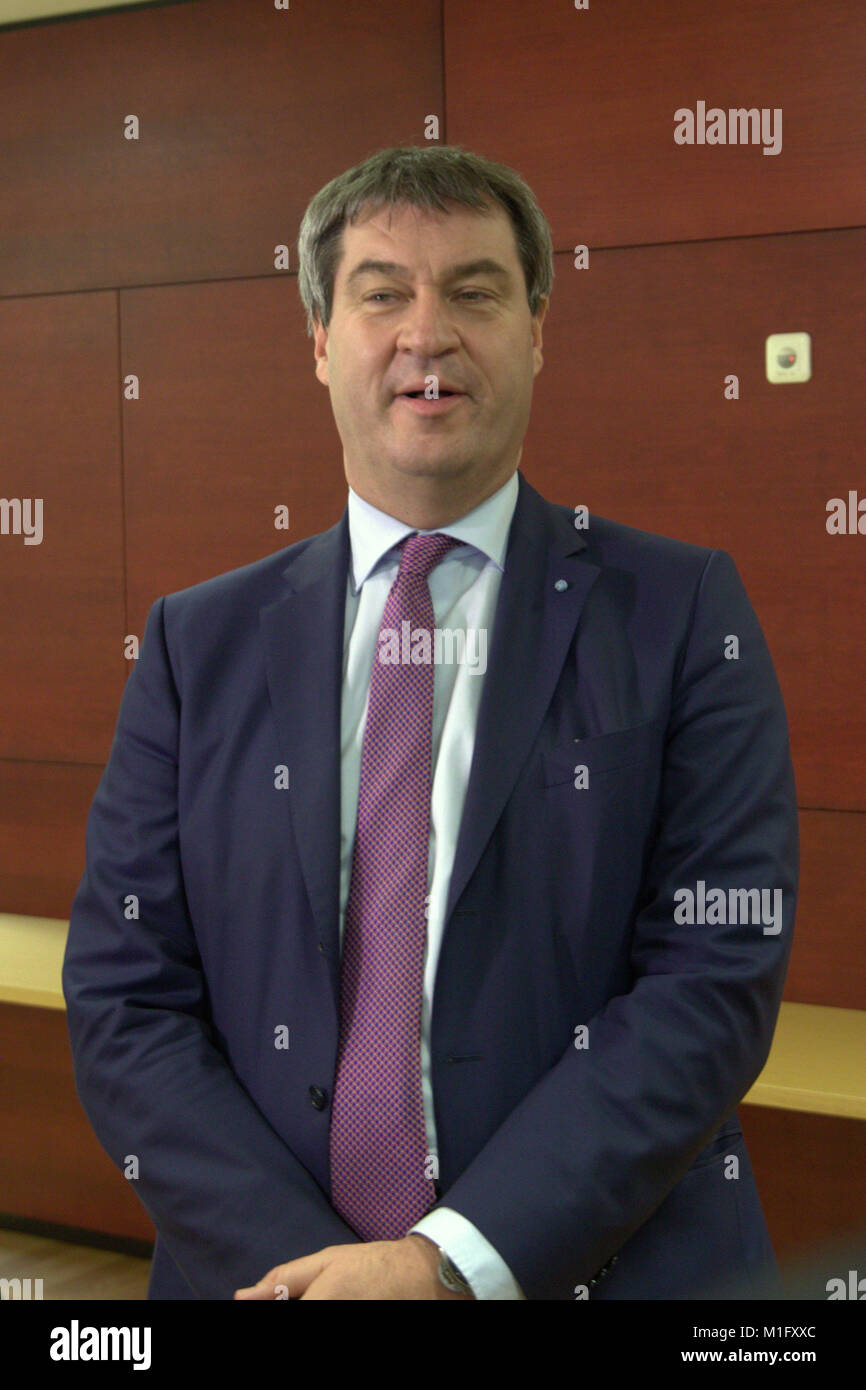 Munich, Germany, 30th Jan 2018. Markus Soeder, German politician and party member of the CSU party. Bavarian State Stock Photo