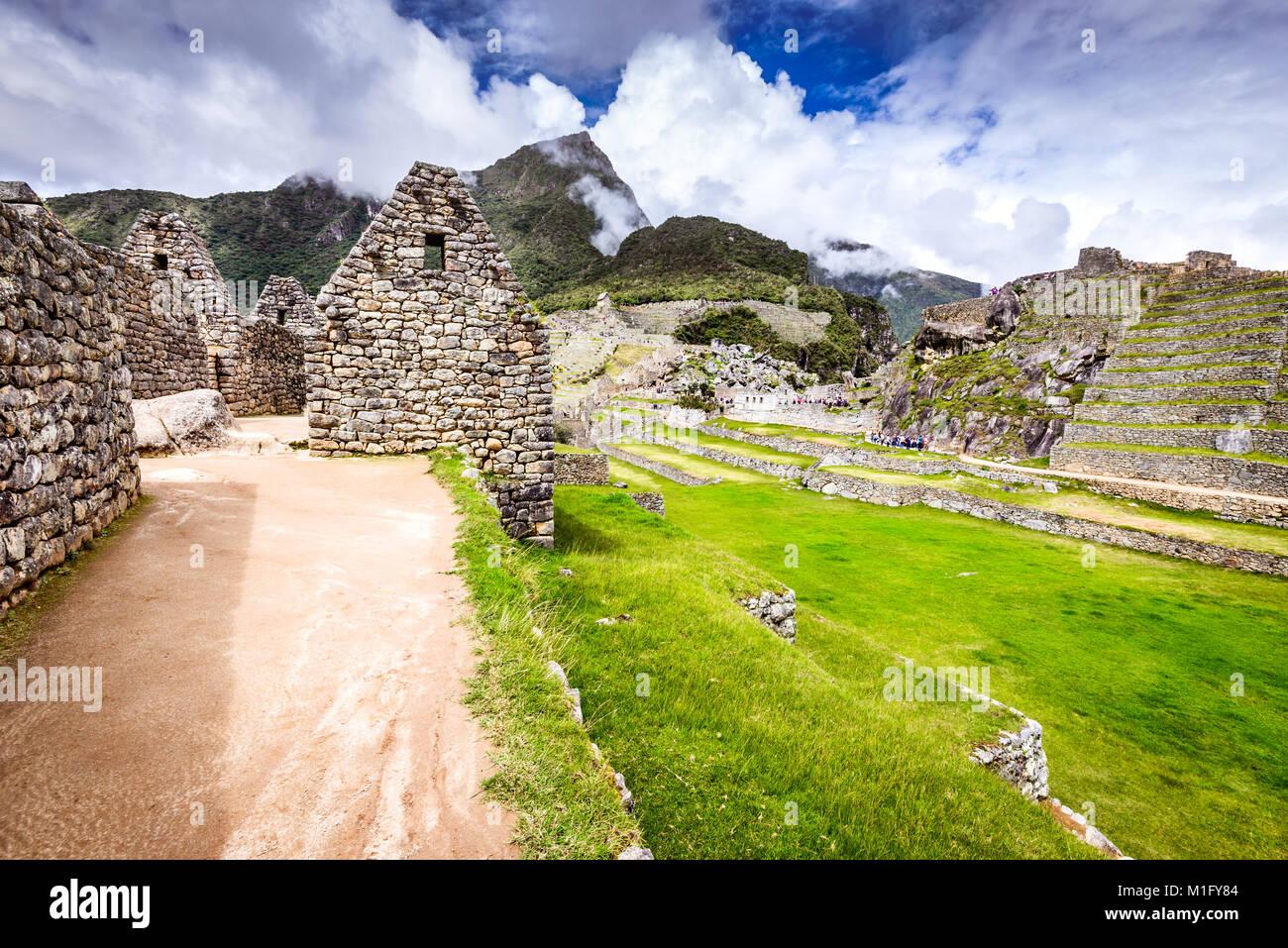 Machu Picchu, Cusco, Peru - Ruins of Inca Empire city and Machupicchu Mountain, Sacred Valley. Amazing world wonder Stock Photo