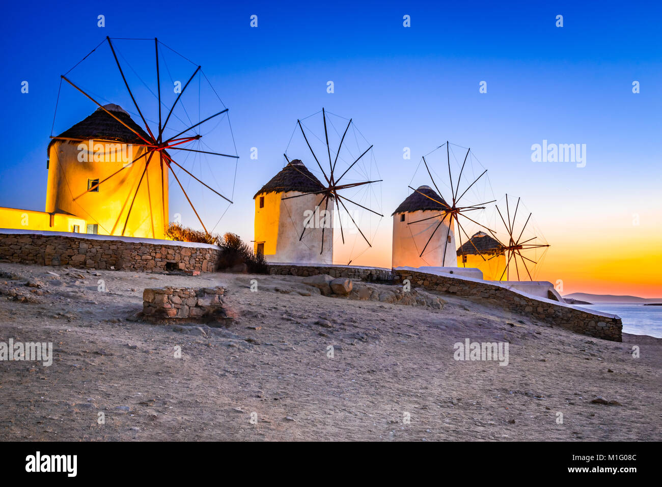 Mykonos, Greece. Kato Mili are iconic windmill of the Greek island of the Mikonos, Cyclades Islands. - Stock Image