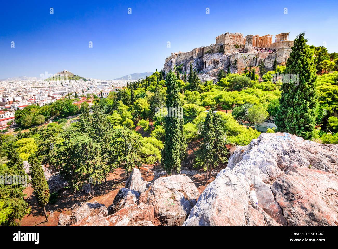 Athens, Greece. Acropolis, ancient ruins of Greek Civilization citadel with Erechtheion temple. - Stock Image