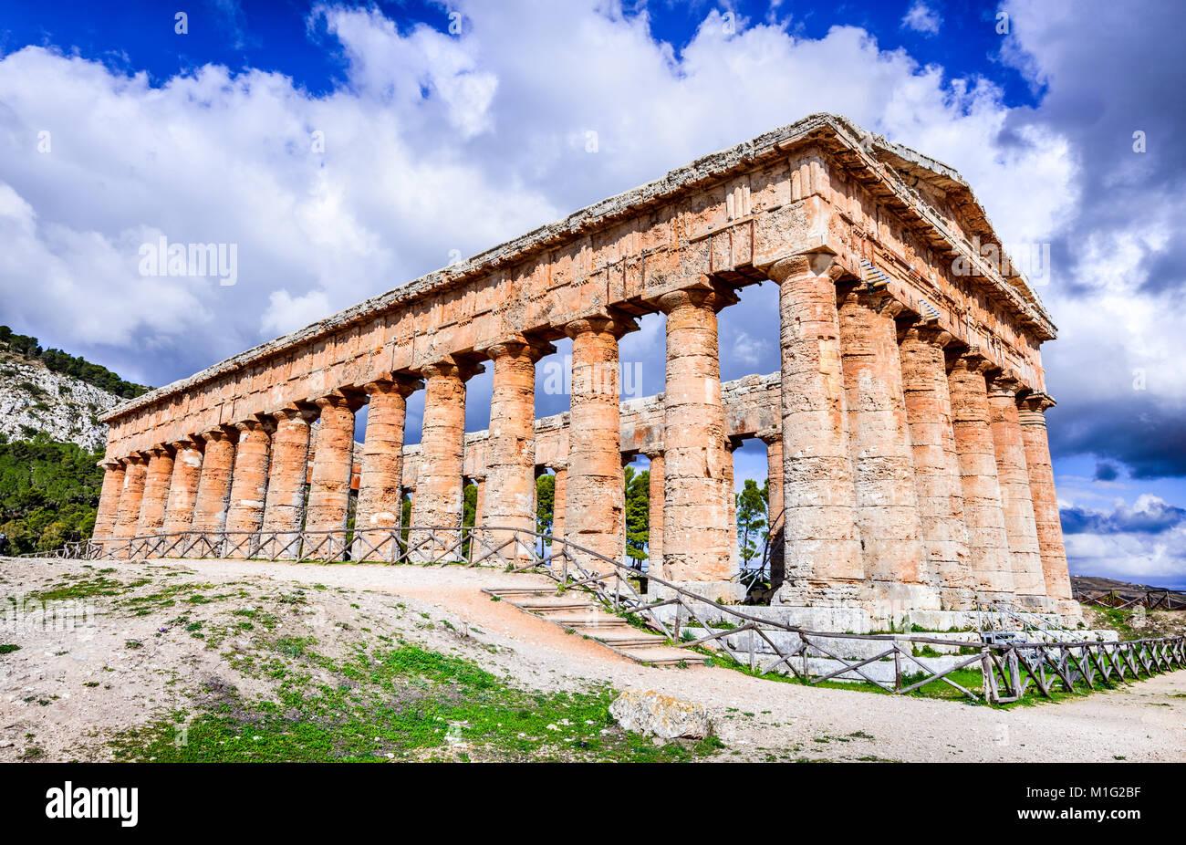Segesta, Italy. Ancient greek temple of Saegesta, doric architecture in Sicily, Graecia Magna. - Stock Image
