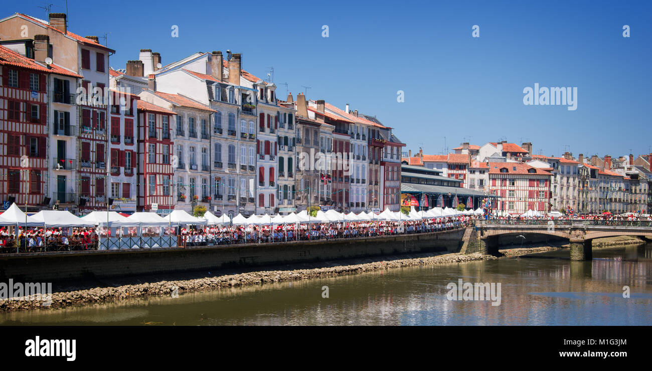 Cityscape of Bayonne during the Summer festival (Fetes de Bayonne), France - Stock Image