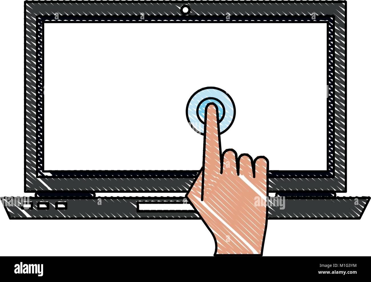 Laptop touchscreen technology - Stock Image