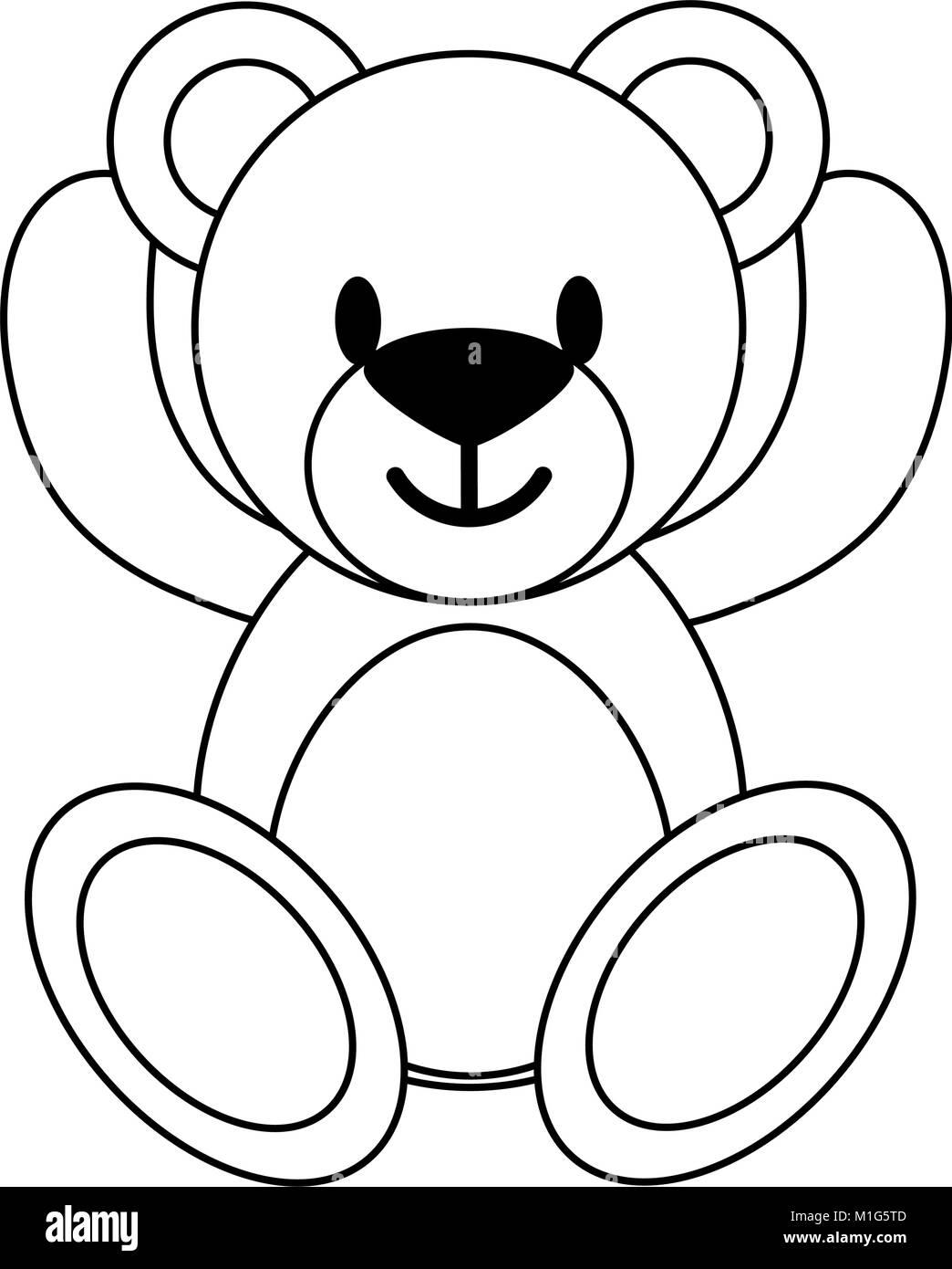Teddy fluffy bear - Stock Vector