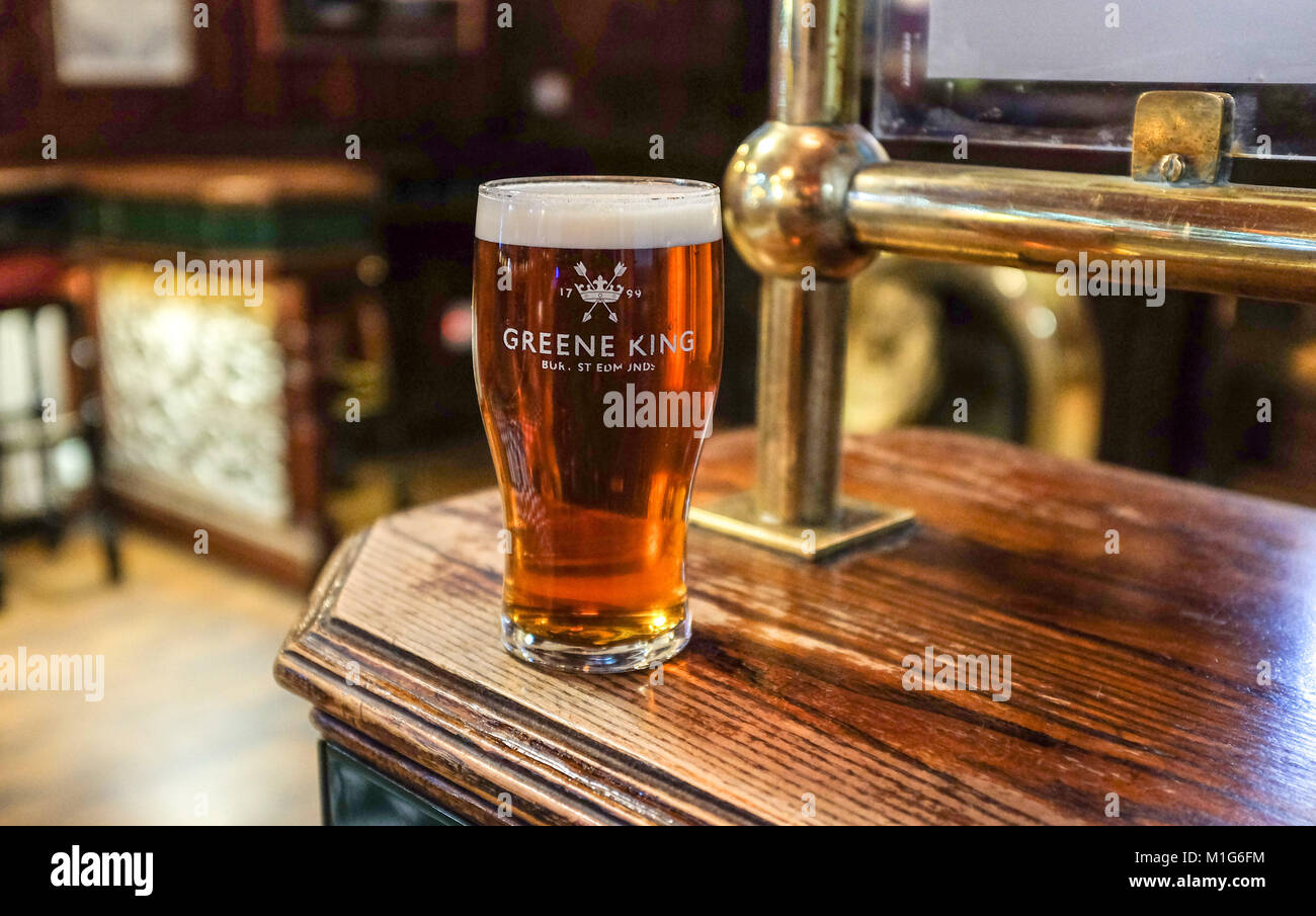 Leeds Yorkshire UK - Pint of real ale beer in a Greene King glass - Stock Image