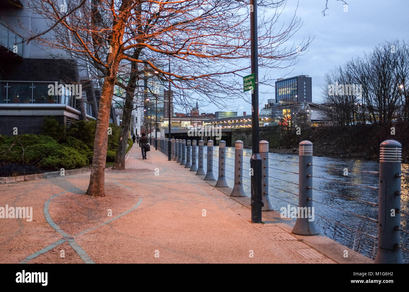 Leeds Yorkshire UK - The new Riverside district with shops restaurants and offices - Stock Image