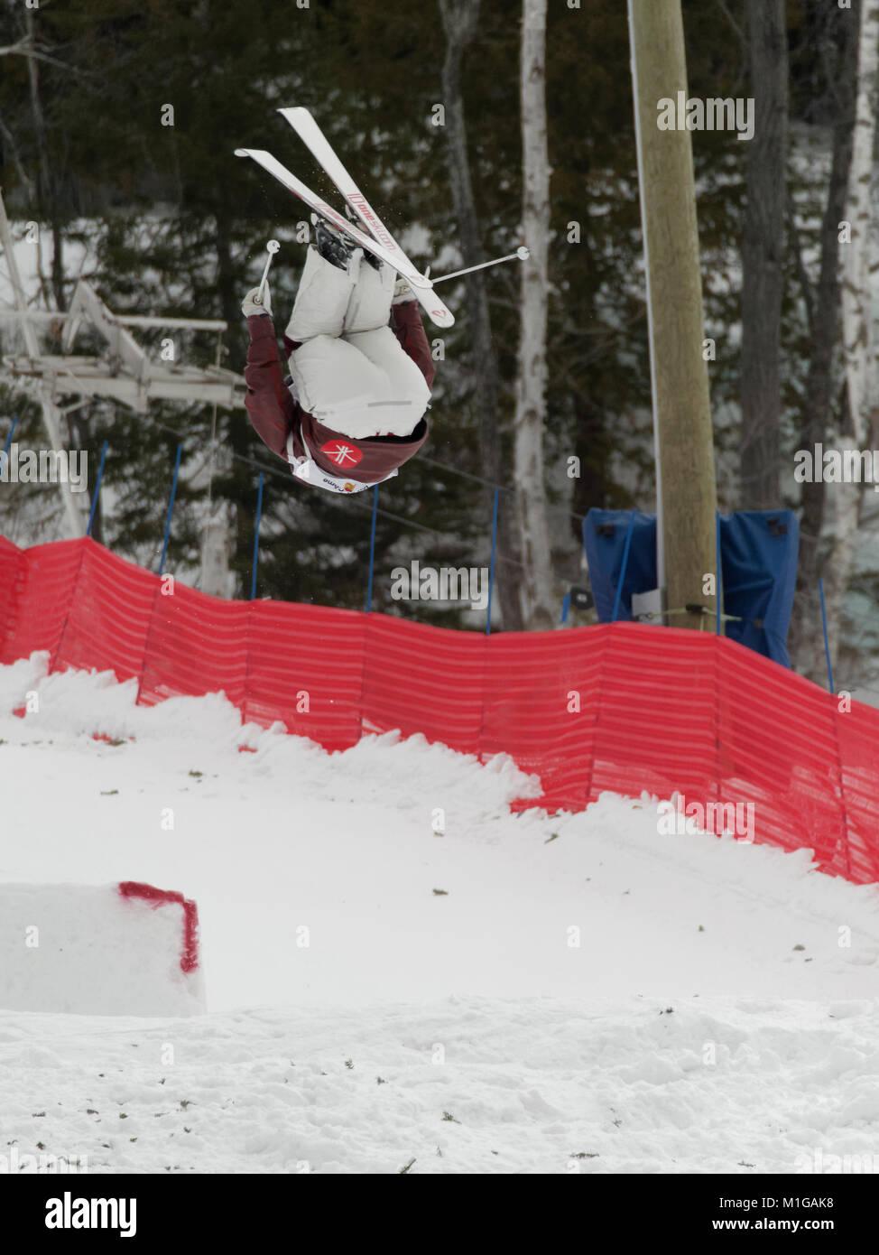 Val Saint-Come,Canada 1/27/2018. Alex-Anne Gagnon of Canada competes at the 2018 NorAm Moguls Championship - Stock Image