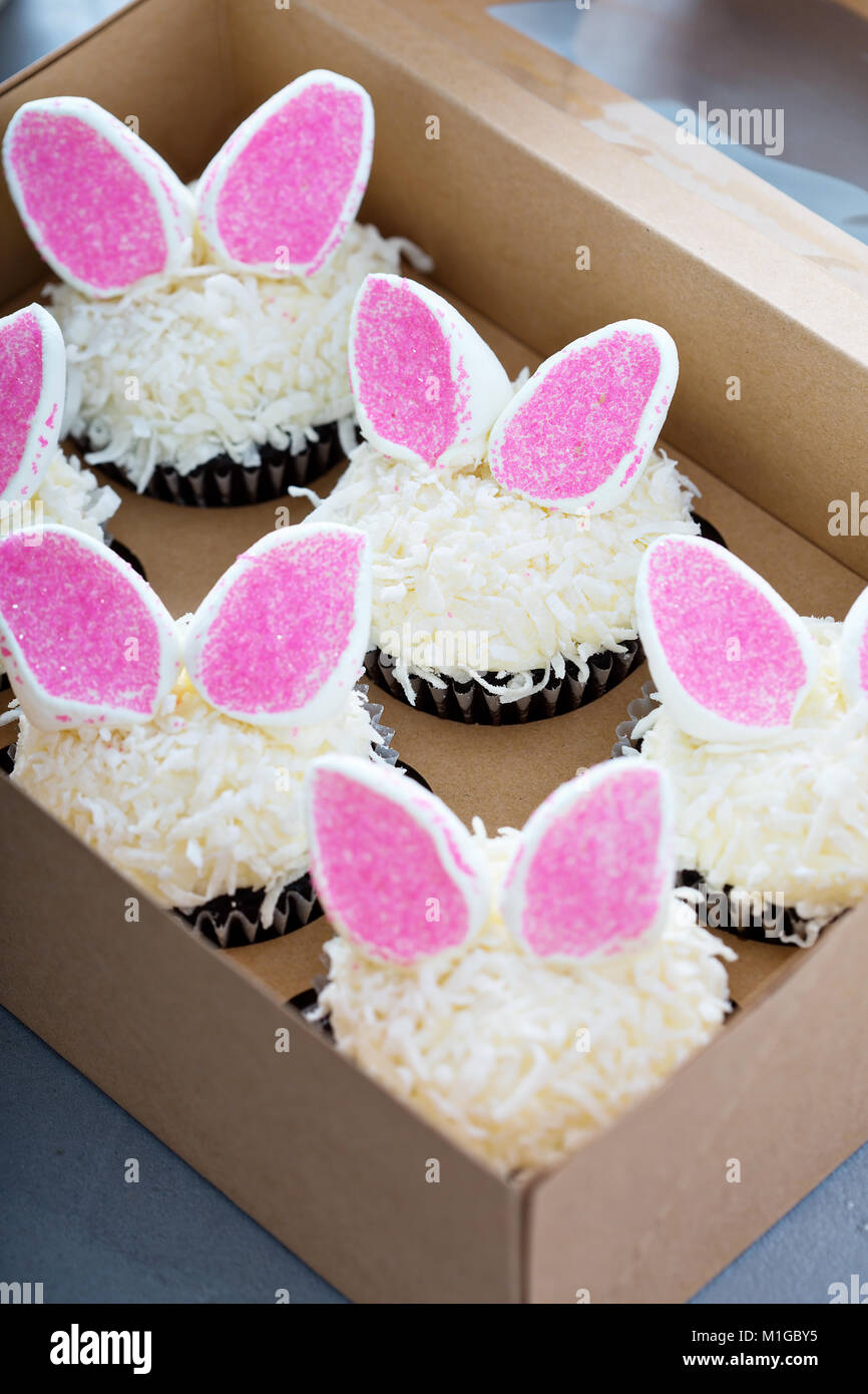 Easter chocolate cupcakes with bunny ears and coconut flakes in a box - Stock Image