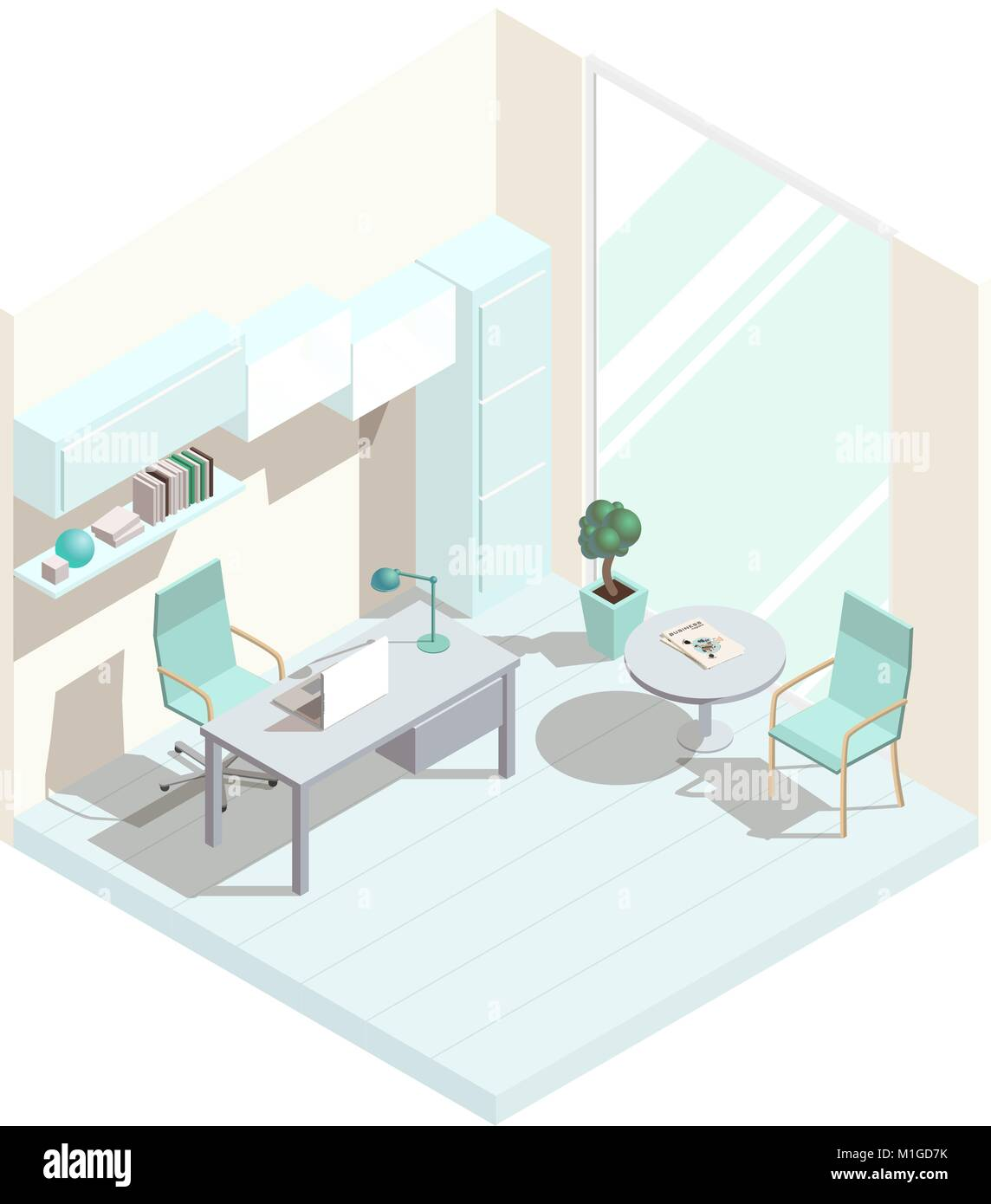Isometric office interior - Stock Image
