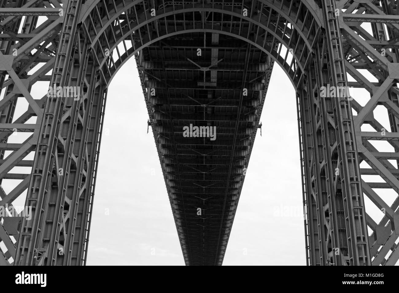 The George Washington Bridge as seen from below, Fort Lee, New Jersey,. - Stock Image