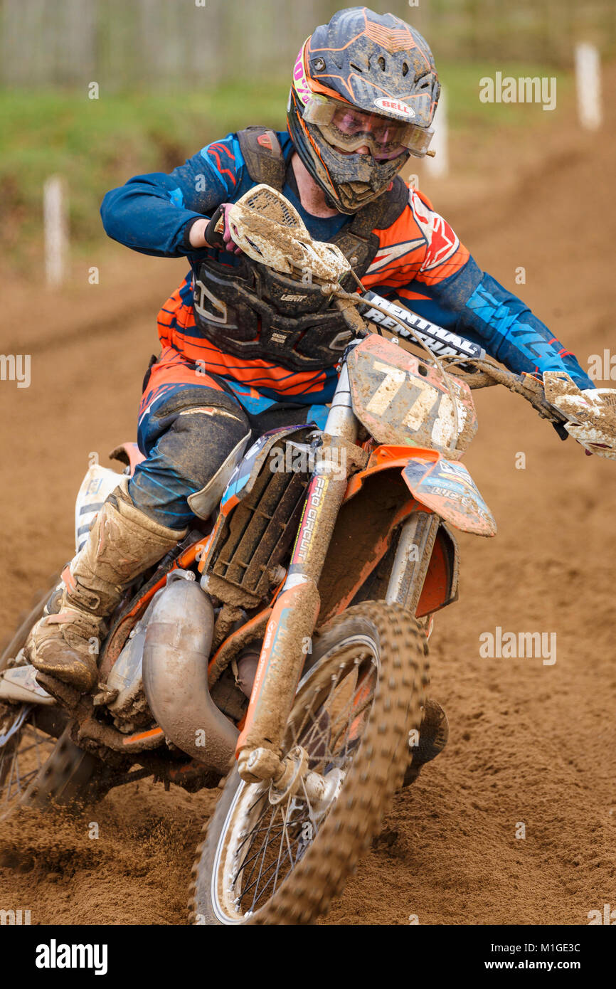 Edward Harste on the KTM 250 at the NGR & ACU Eastern EVO Solo Motocross Championships, Cadders Hill, Lyng, - Stock Image