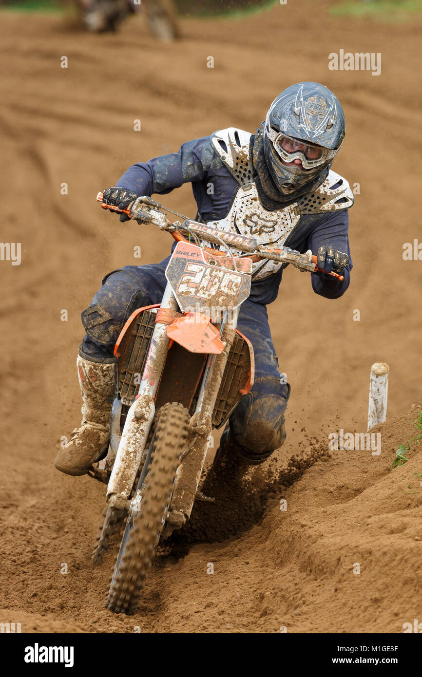 Ryan Bailey on the KTM 150 at the NGR & ACU Eastern EVO Solo Motocross Championships, Cadders Hill, Lyng, Norfolk, - Stock Image