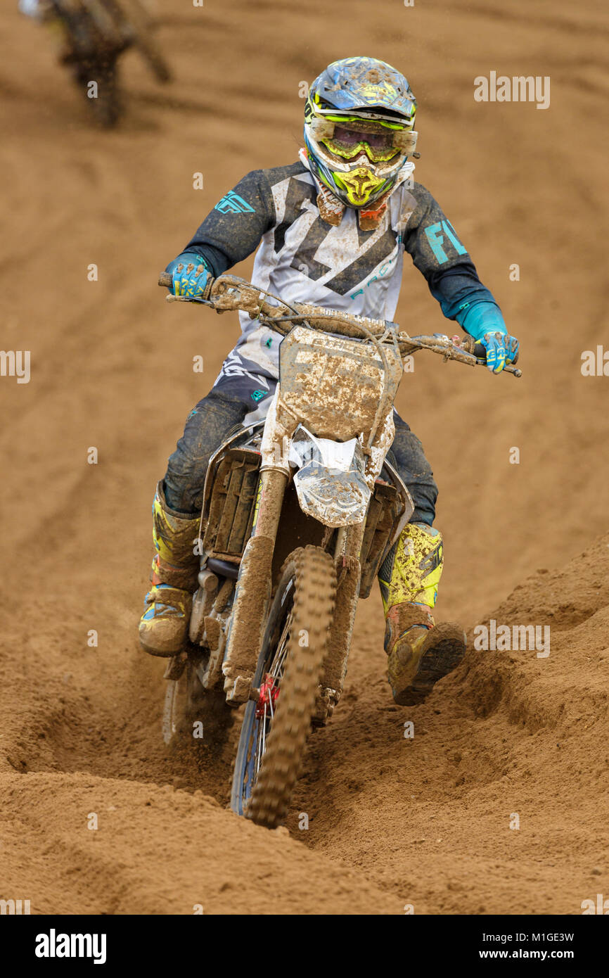 Stacey Henderson on the Elvo White Collar Boxing Club Honda 250 at the NGR & ACU Eastern EVO Motocross Championships, - Stock Image