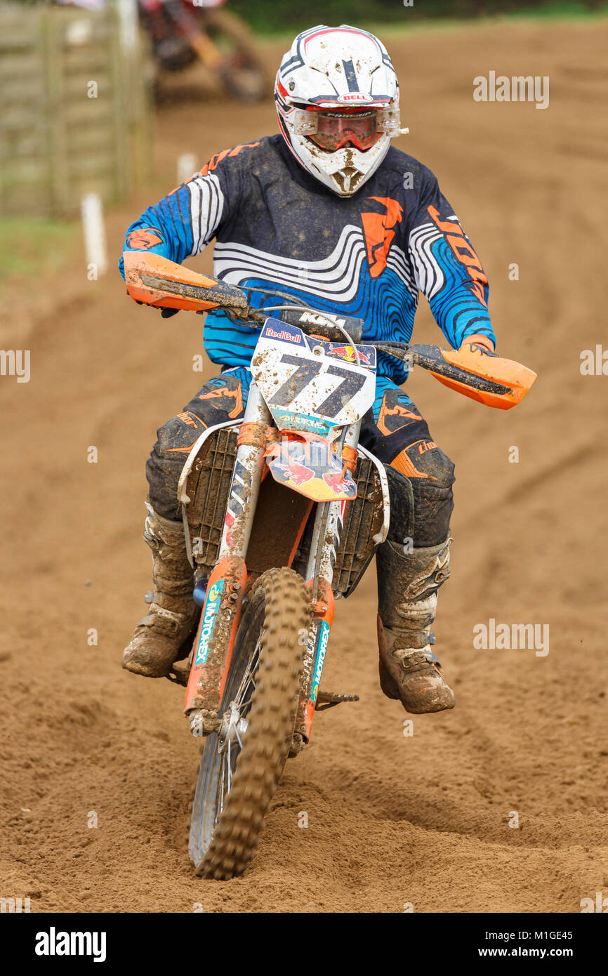 John Smith on the KTM 450 at the NGR & ACU Eastern EVO Solo Motocross Championships, Cadders Hill, Lyng, Norfolk, - Stock Image