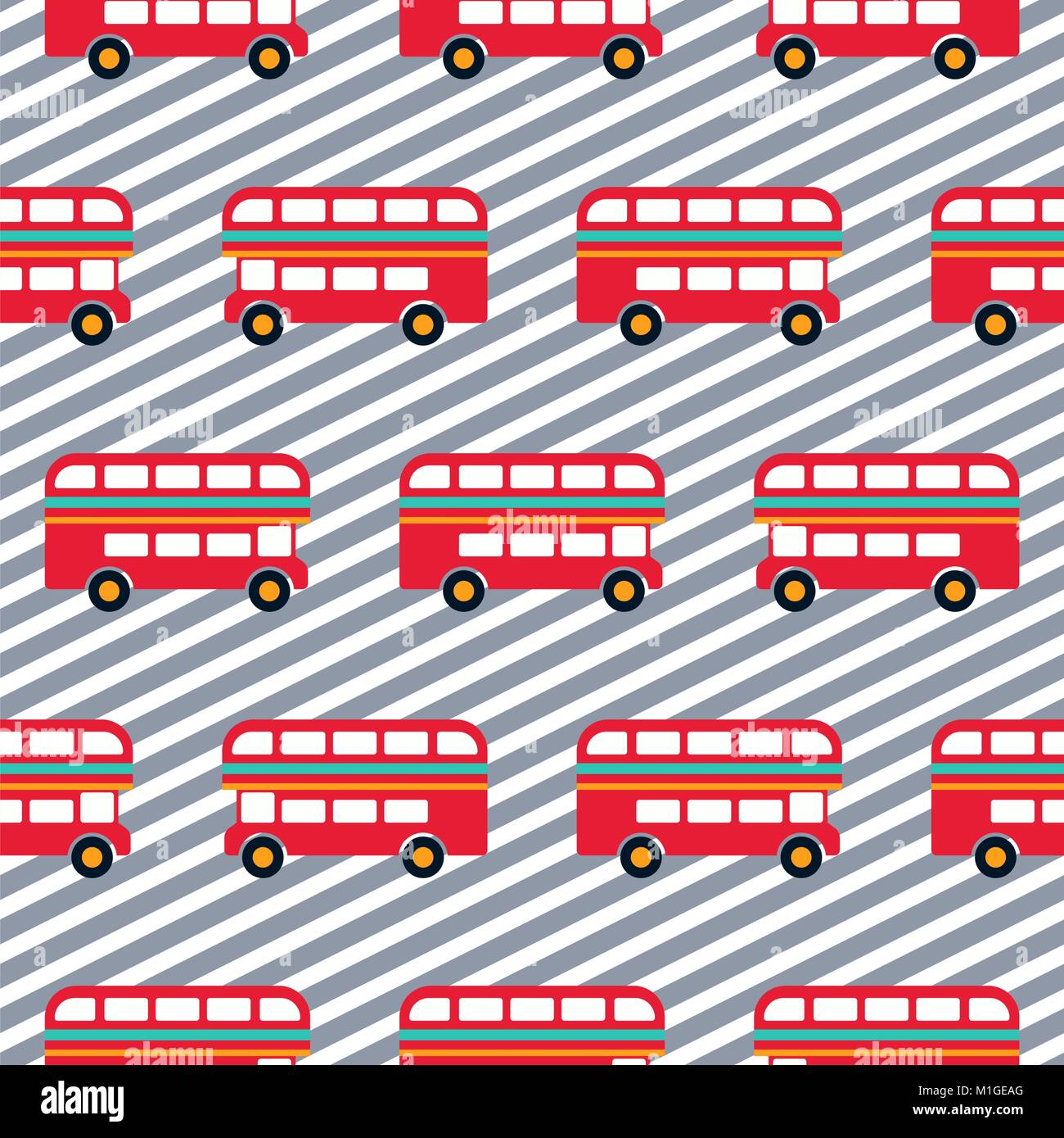 Red bus boy striped seamless vector pattern. - Stock Image