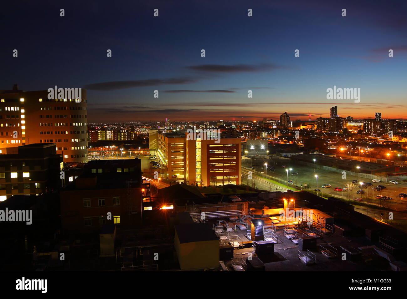 Leeds Skyline At Dusk - Stock Image