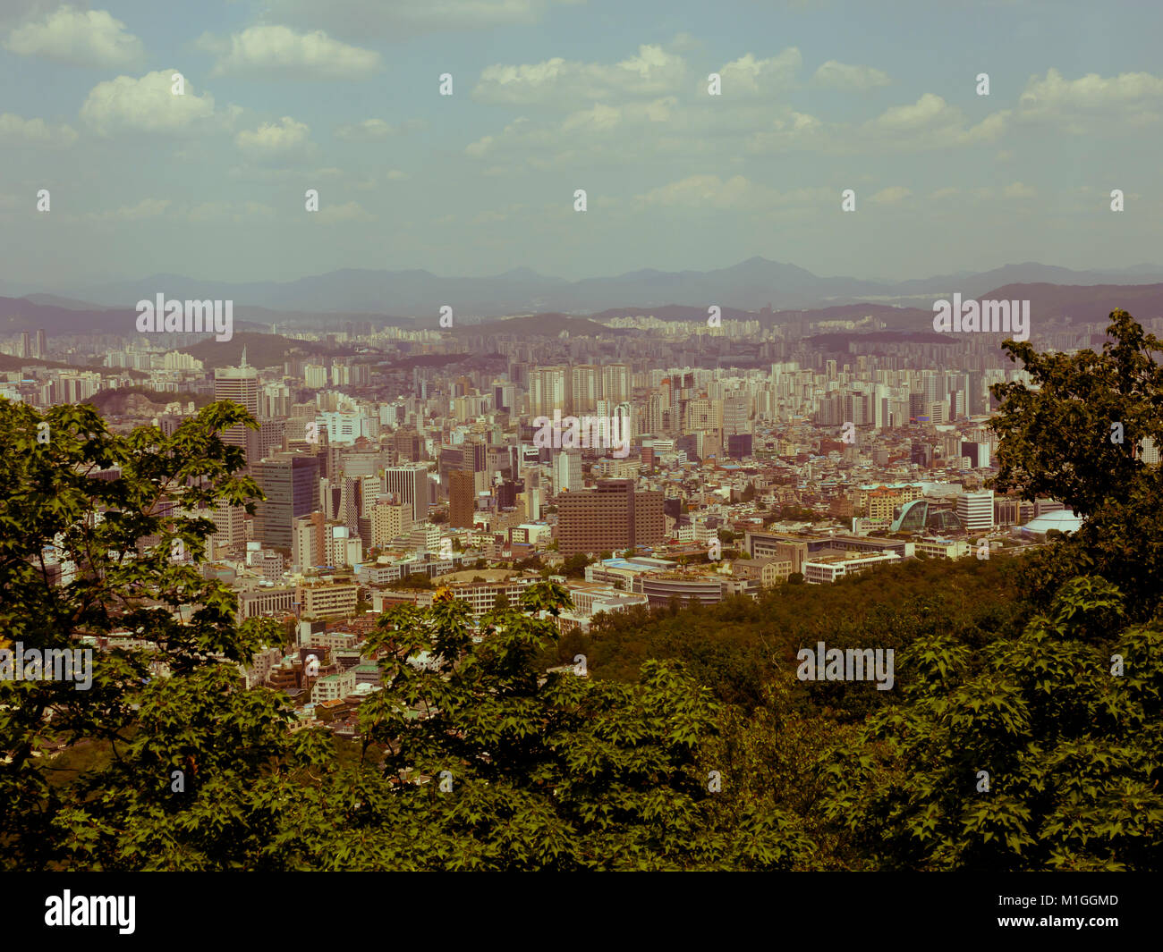 Retro styled view of Seoul from the Namsan Mountain, South Korea. - Stock Image