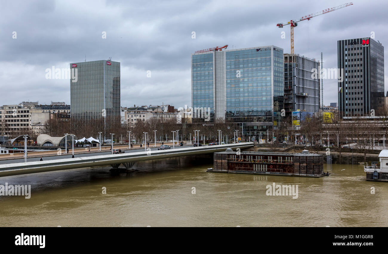 PARIS,FRANCE - January 29, 2018: Cityscape of Paris with the Seine River that rose significantly, increasing the - Stock Image