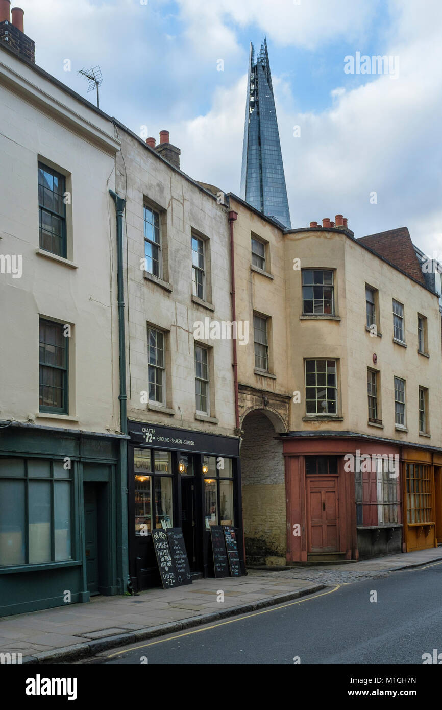 Bermondsey Street, London SE1: A row of Victorian shops and dwellings, a short distance from the 21st century architecture - Stock Image