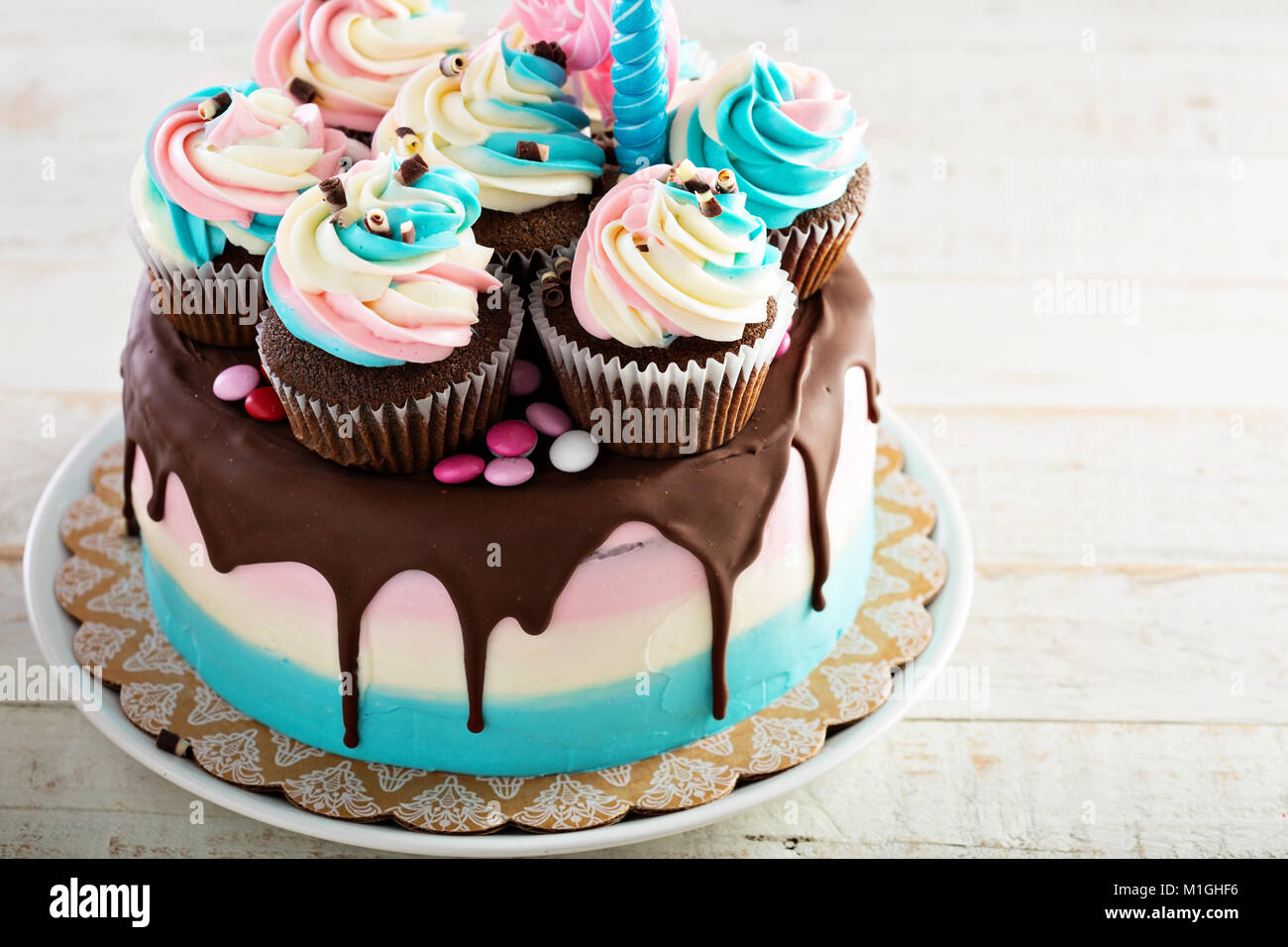 Festive and colorful birthday or baby shower chocolate cake - Stock Image