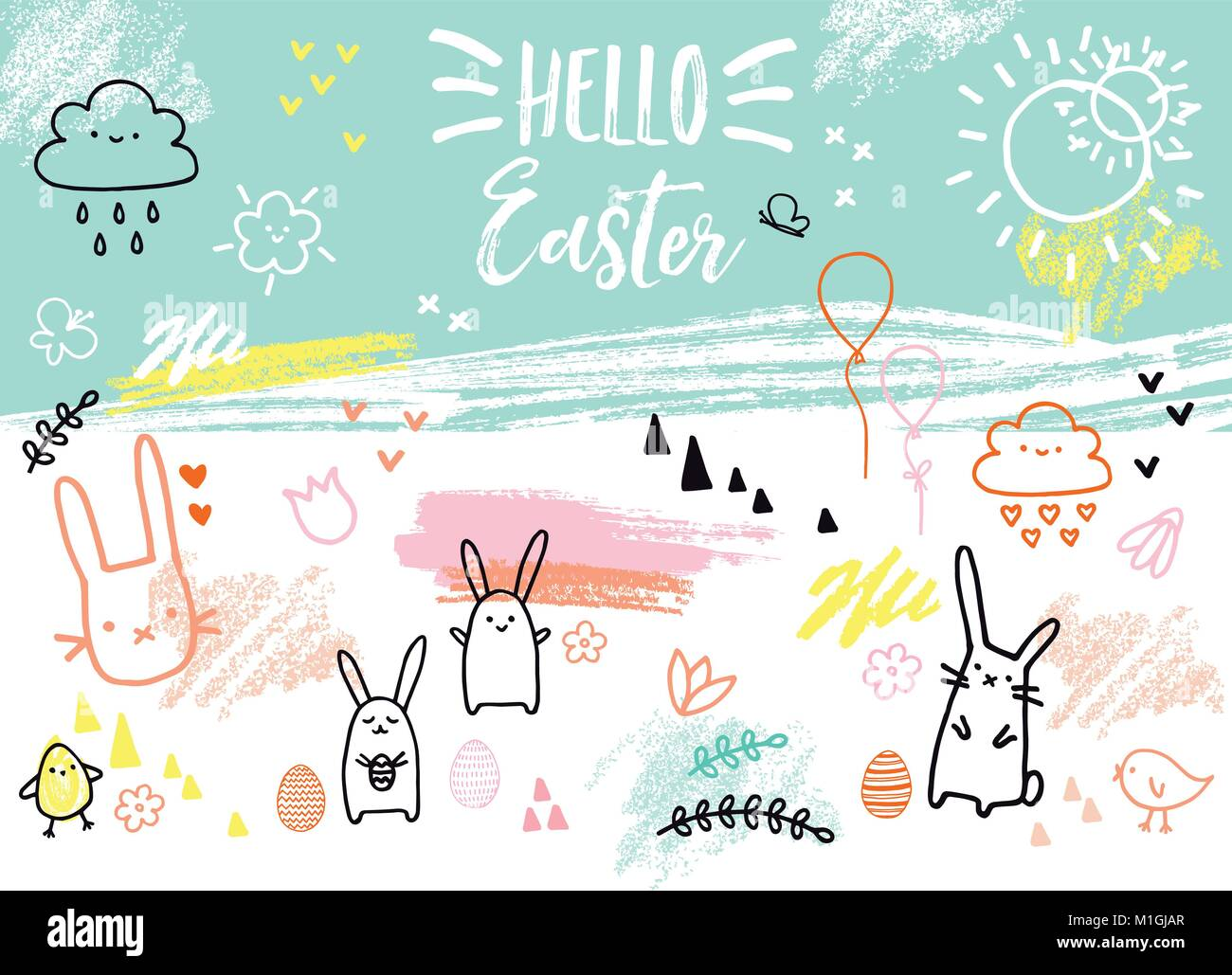 Easter card with bunnies, eggs, flowers, hand-drawn graphic design elements, vector illustration Stock Vector