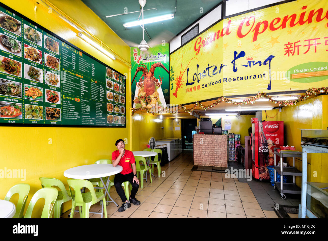 Interior of a seafood restaurant in town centre, Kota Kinabalu, Sabah, Borneo, Malaysia - Stock Image