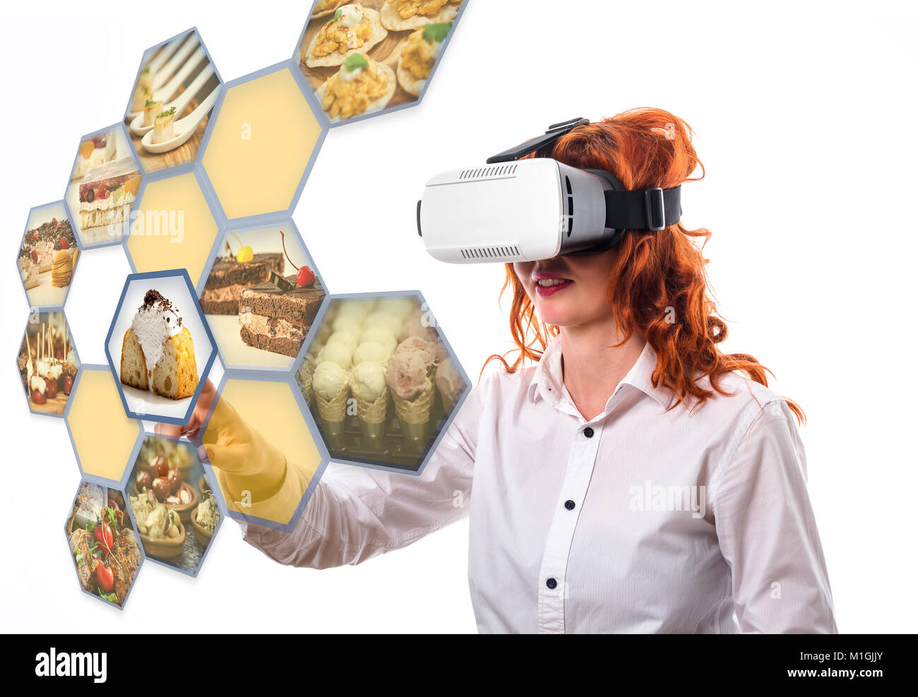 VR headset on a digital interface in restaurant touching a option, interacts with cyberspace, head shot - Stock Image