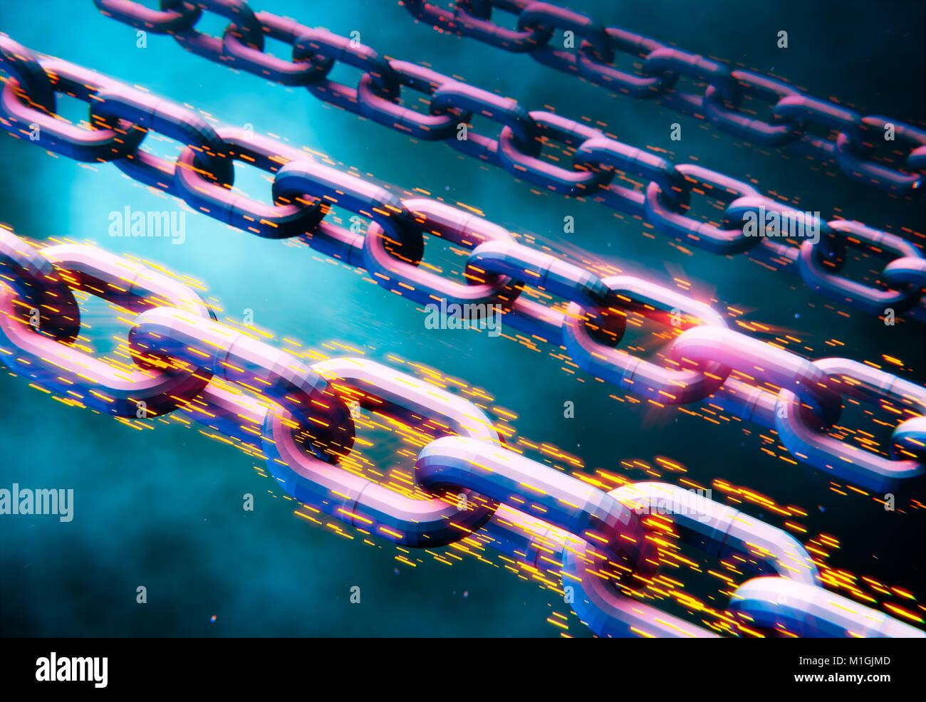 Blockchain data transfer bitcoin chains, abstract 3D illustration Stock Photo