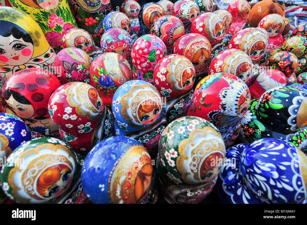 Russian nesting dolls for sale in Moscow, Russia. - Stock Image