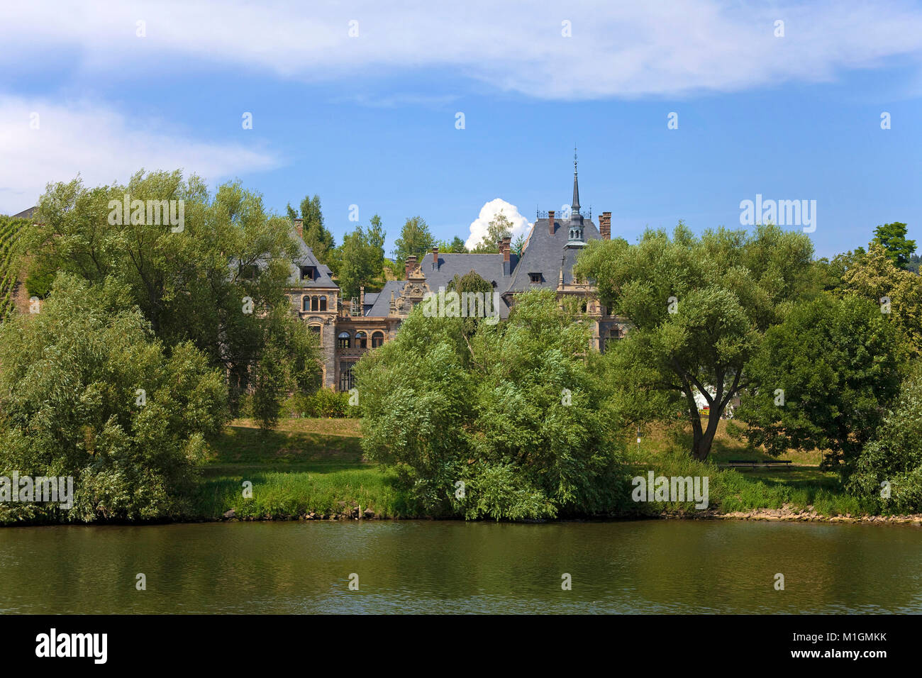 Lieser castle, former vineyard estate today a 5 star hotel at Moselle river, Lieser, Moselle river, Rhineland-Palatinate, - Stock Image