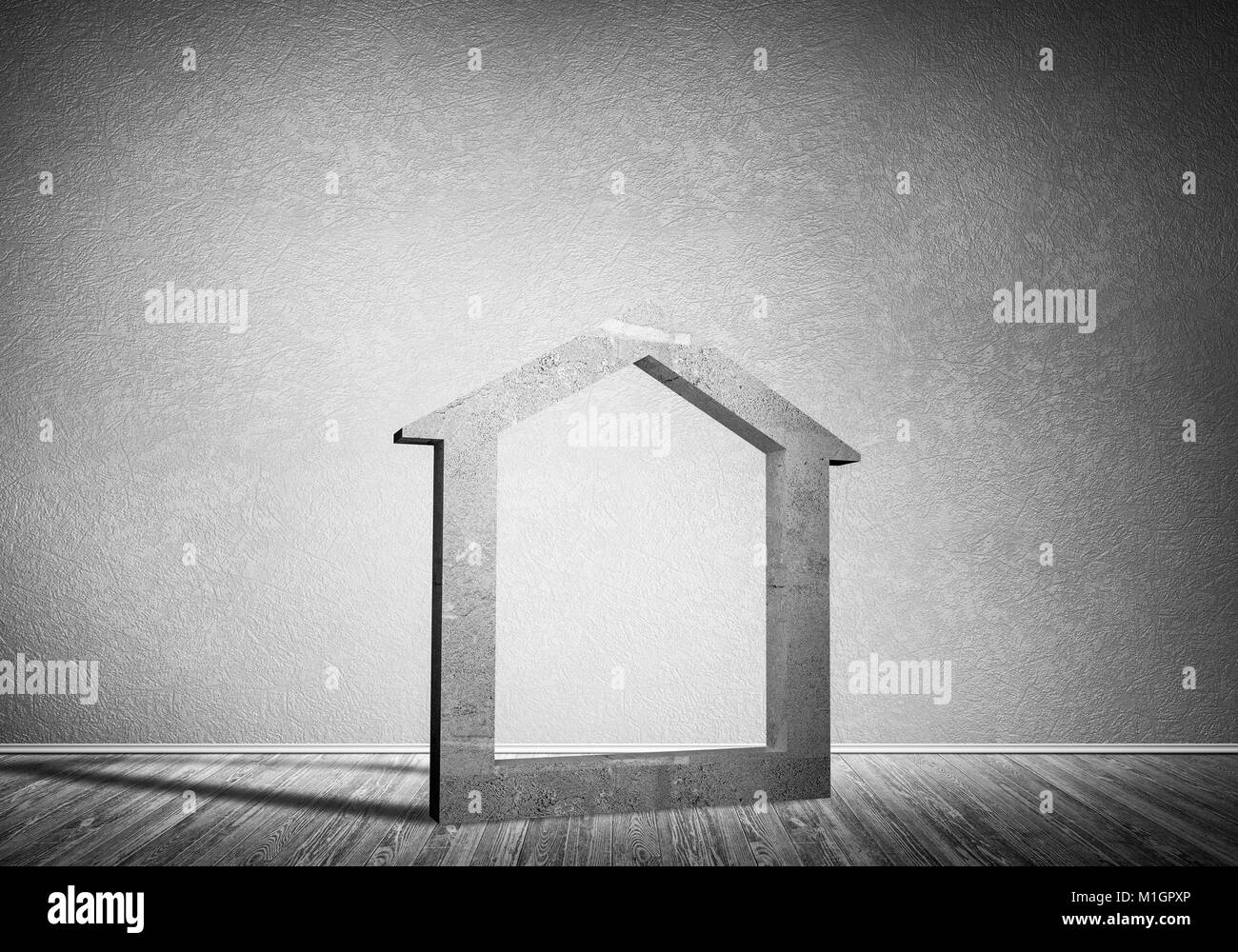 Conceptual background image of concrete home sign in room with w - Stock Image