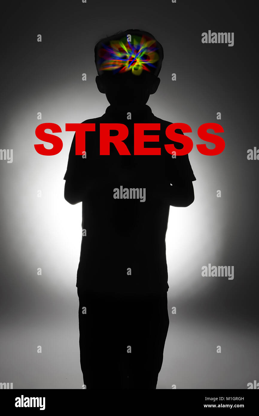child suffering from stress, post traumatic stress disorder (PTSD) - Stock Image